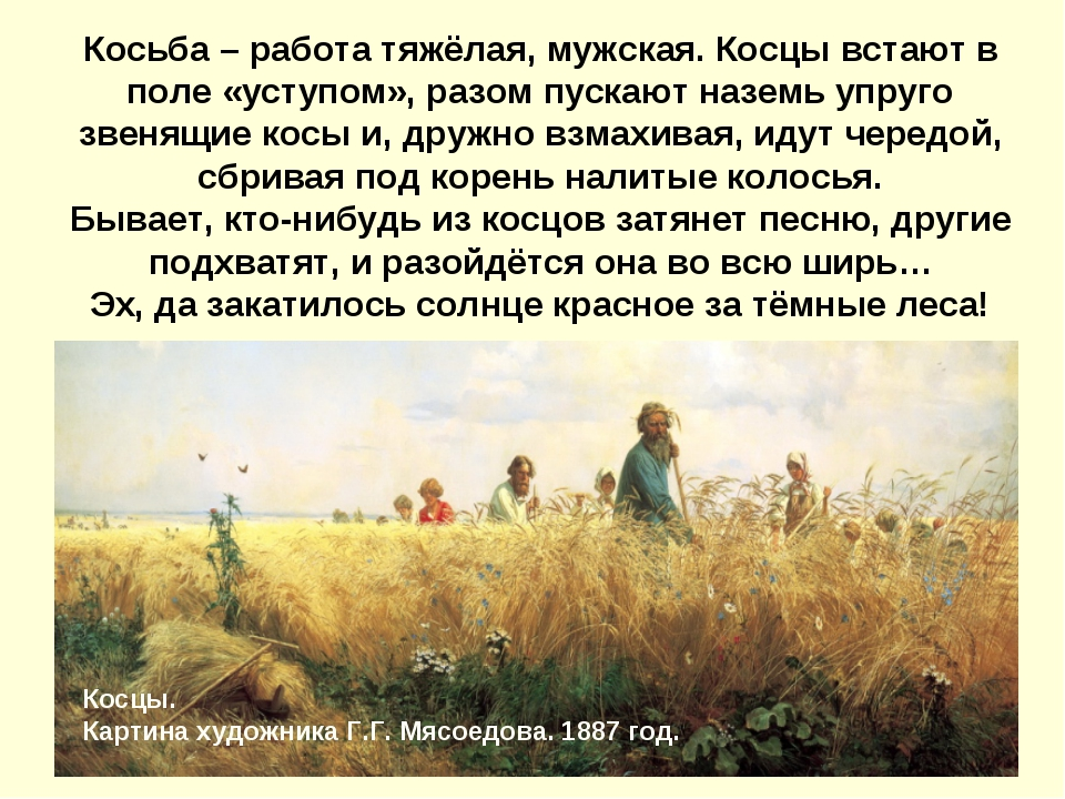Косьба – работа тяжёлая, мужская. Косцы встают в поле «уступом», разом пуска...