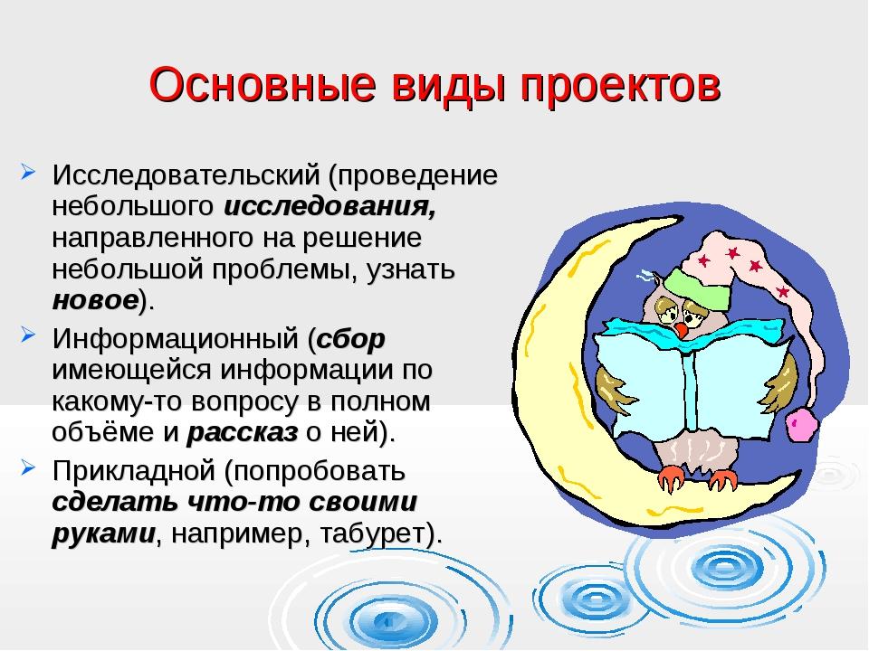 Основные виды проектов Исследовательский (проведение небольшого исследования,...