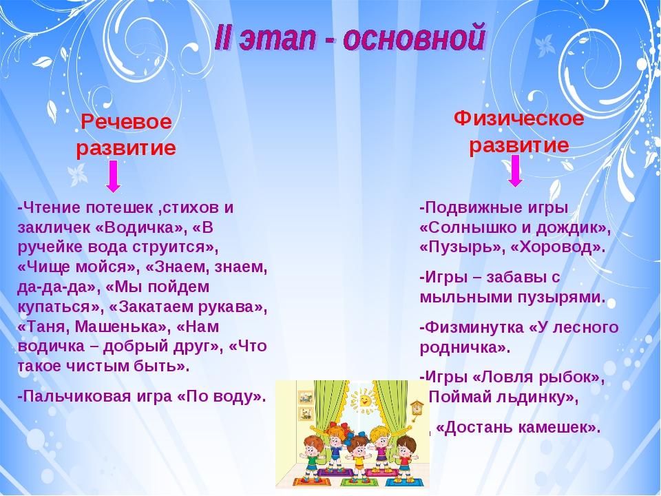 Речевое развитие Физическое развитие -Чтение потешек ,стихов и закличек «Води...