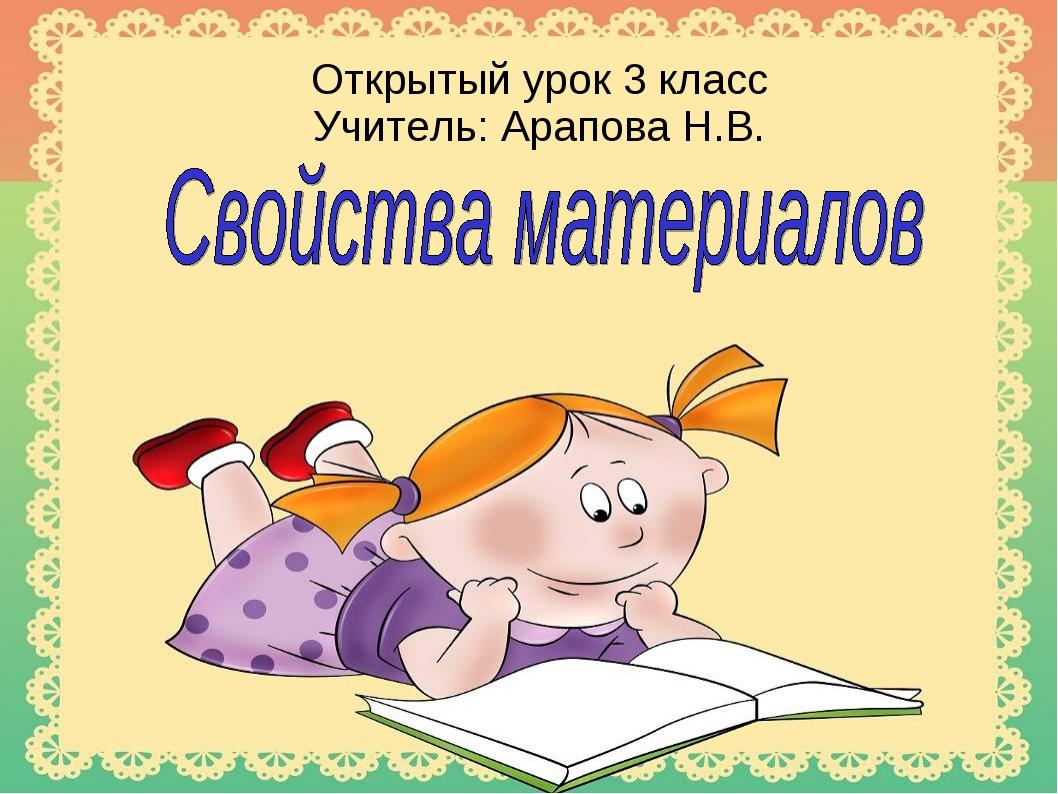 Открытый урок 3 класс Учитель: Арапова Н.В.