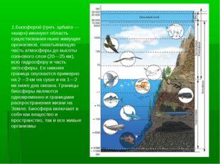 1.Биосферой (греч. sphaira— «шар») именуют область существования ныне живущи