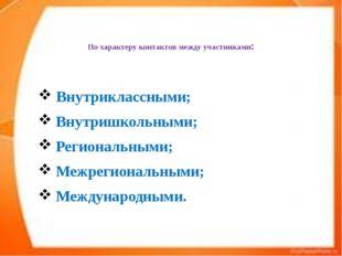 По характеру контактов между участниками: Внутриклассными; Внутришкольными;