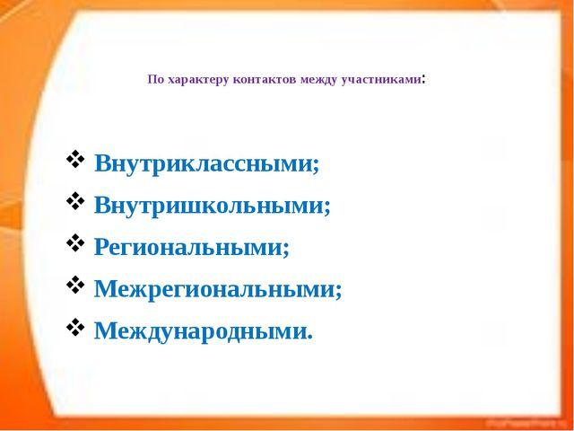 По характеру контактов между участниками: Внутриклассными; Внутришкольными;...