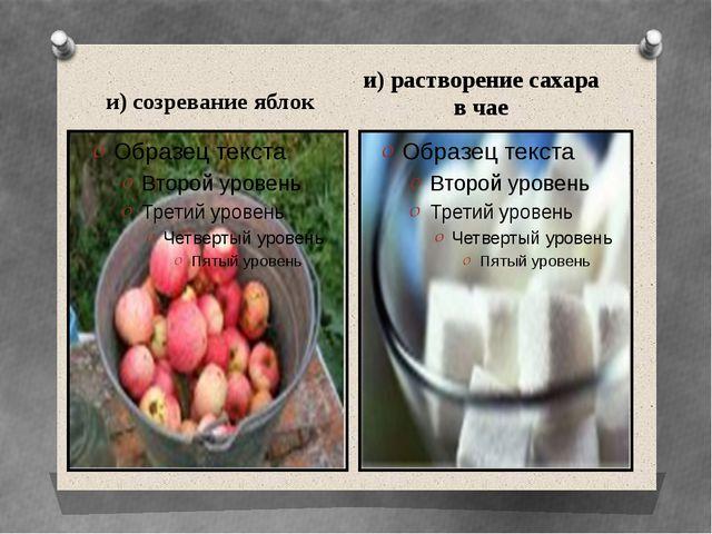 и) созревание яблок и) растворение сахара в чае