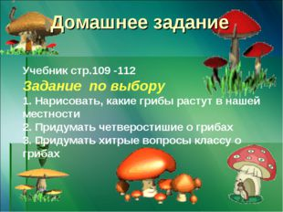 Домашнее задание Учебник стр.109 -112 Задание по выбору 1. Нарисовать, какие