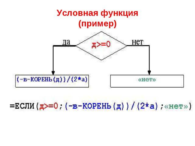 Условная функция (пример)