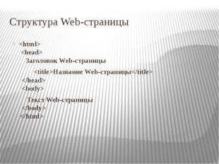 Структура Web-страницы   Заголовок Web-страницы Название Web-страницы   Текст