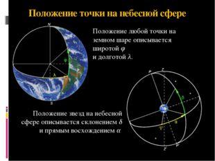 Положение точки на небесной сфере Положение звезд на небесной сфере описывает