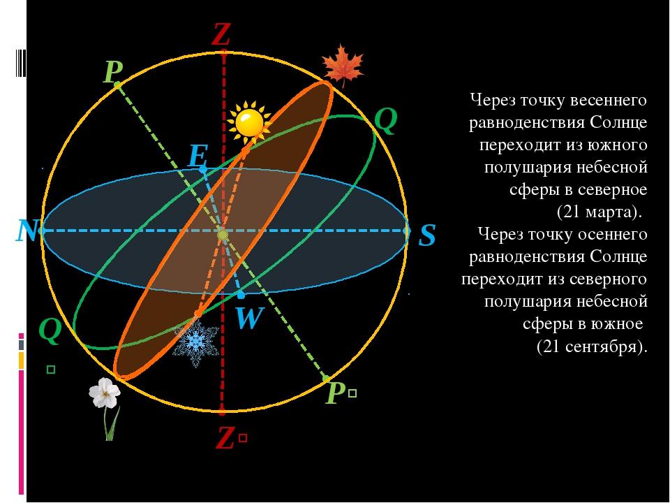 S Z Zʹ N Q P Pʹ W E Qʹ Через точку весеннего равноденствия Солнце переходит и...