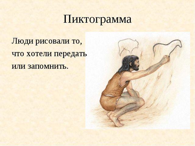 Пиктограмма Люди рисовали то, что хотели передать или запомнить.