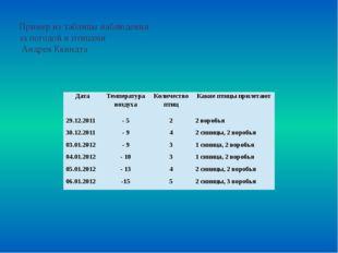 Пример из таблицы наблюдения за погодой и птицами Андрея Квиндта Дата Темпера