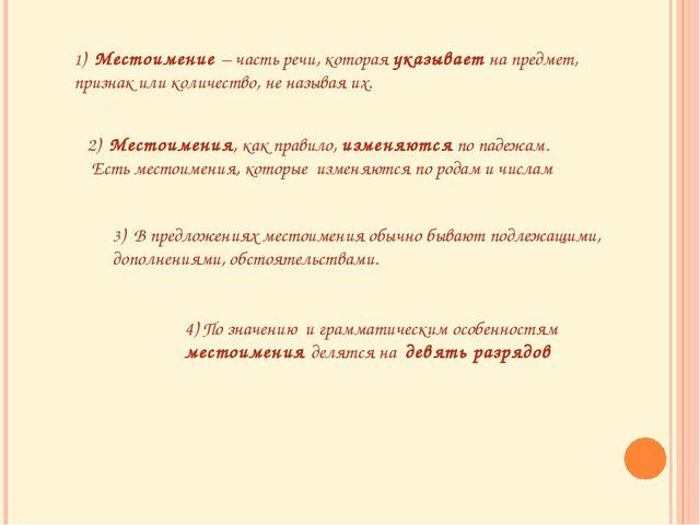 1) Местоимение – часть речи, которая указывает на предмет, признак или количе...