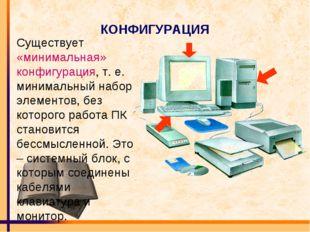 КОНФИГУРАЦИЯ Существует «минимальная» конфигурация, т. е. минимальный набор э