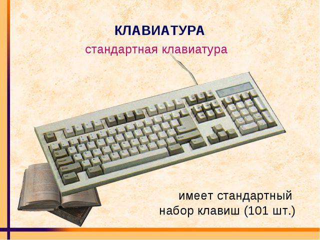 КЛАВИАТУРА стандартная клавиатура имеет стандартный набор клавиш (101 шт.)