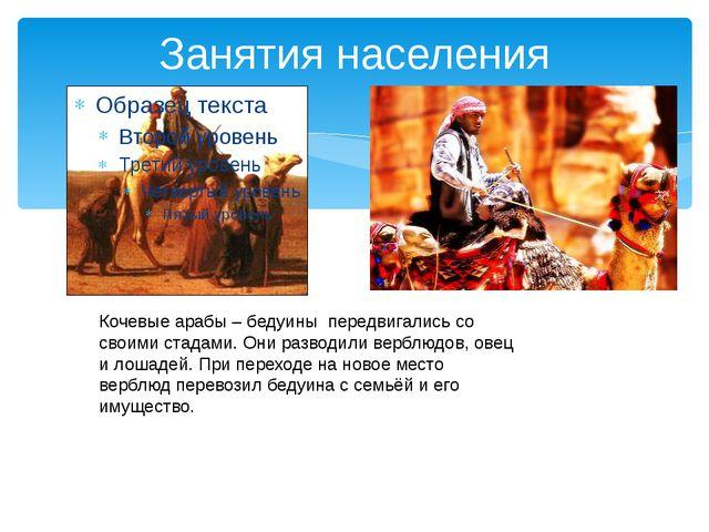 Занятия населения Кочевые арабы – бедуины передвигались со своими стадами. Он...