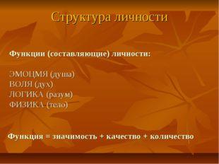 Структура личности Функции (составляющие) личности: ЭМОЦМЯ (душа) ВОЛЯ (дух)
