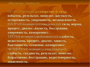«Матрица» личности: ПЕРВАЯ позиция («суперство»): сила, избыток, результат, м