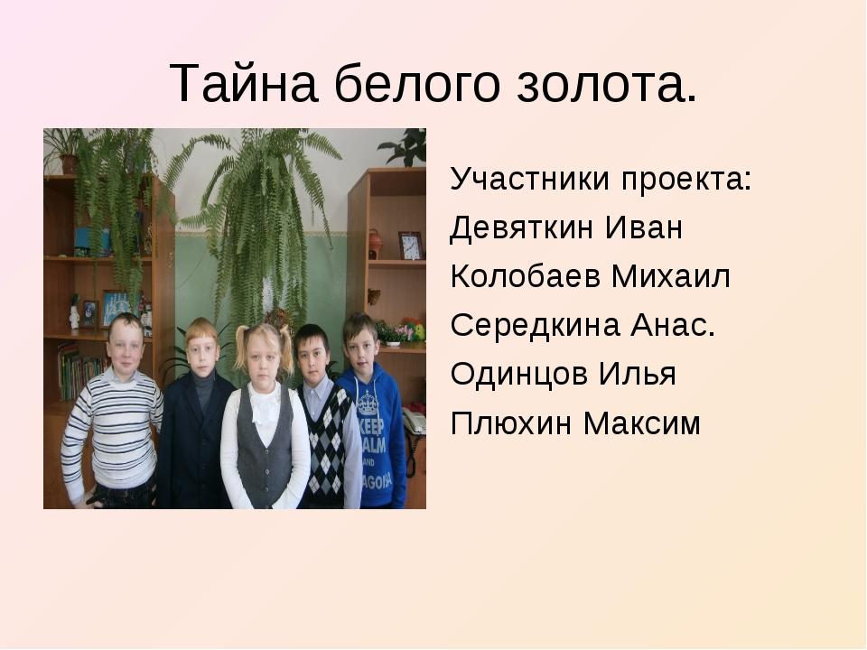Тайна белого золота. Участники проекта: Девяткин Иван Колобаев Михаил Середки...