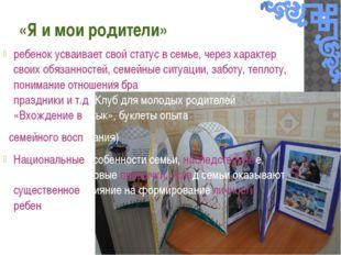 «Я и мои родители» ребенок усваивает свой статус в семье, через характер свои