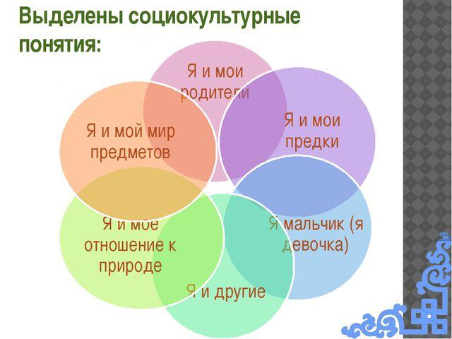 Выделены социокультурные понятия: