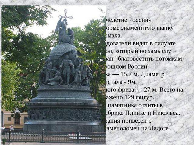 Памятник «Тысячелетие России» напоминает по форме знаменитую шапку Владимира...