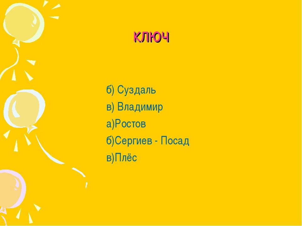 ключ б) Суздаль в) Владимир а)Ростов б)Сергиев - Посад в)Плёс