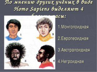 По мнению других учёных в виде Homo Sapiens выделяют 4 больше расы: 1.Монголо