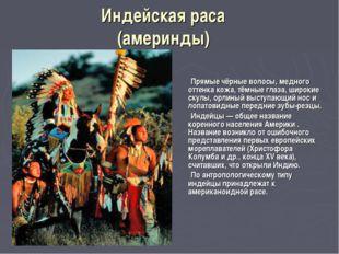 Индейская раса (америнды) Прямые чёрные волосы, медного оттенка кожа, тёмные
