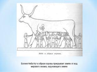 Богиня Неба Нут в образе коровы прикрывает землю от вод мирового океана, окру