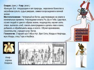 Осирис (греч.) - Усир (егип.) Функция. Бог плодородия и сил природы, верховно