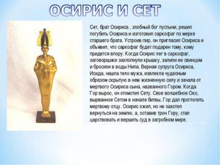 Сет, брат Осириса , злобный бог пустыни, решил погубить Осириса и изготовил