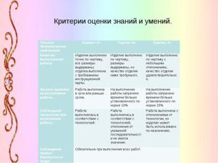 Критерии оценки знаний и умений. Технико- Экономические требованияОценка «5»