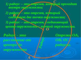 · О · В · · А С Радиус - это расстояние от центра до окружности Отрезки ОА, О