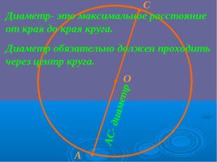 · О · · А С Диаметр- это максимальное расстояние от края до края круга. Диаме