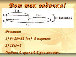 Вот так задачка! Решение: 3+15=18 (кг)- в корзине 18:3=6 Ответ: в сумке в 6 р