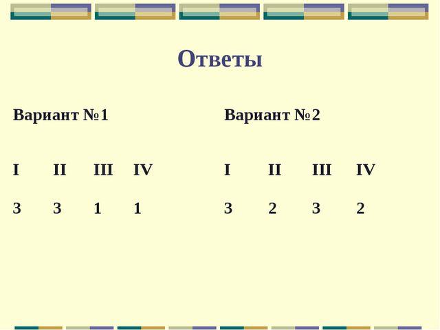 Ответы Вариант №1 IIIIIIIV 3311