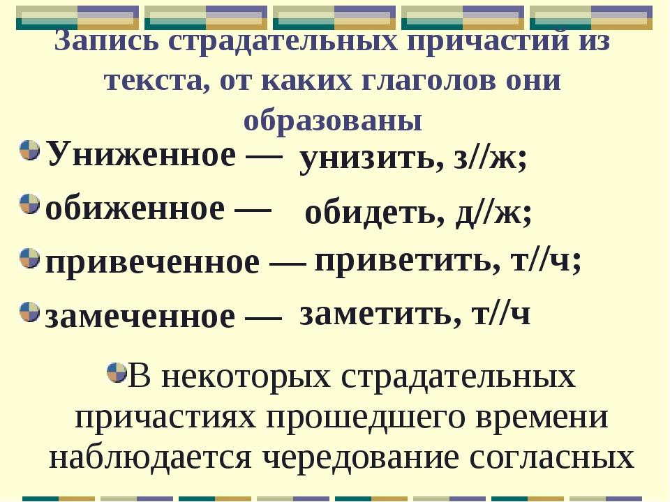 Запись страдательных причастий из текста, от каких глаголов они образованы Ун...