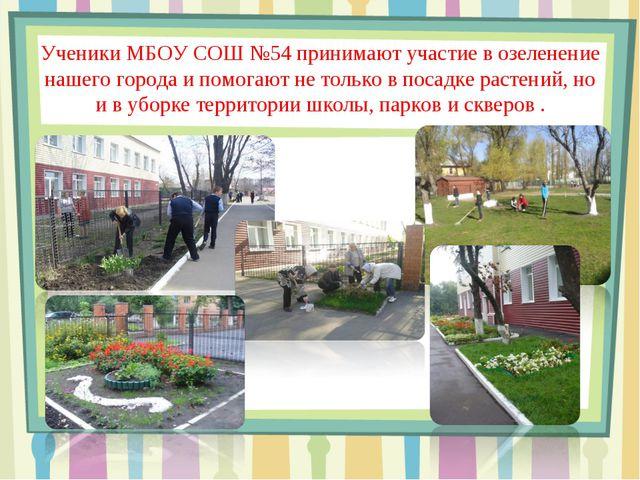 Ученики МБОУ СОШ №54 принимают участие в озеленение нашего города и помогают...