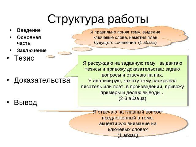Структура работы Введение Основная часть Заключение Тезис Доказательства Выво...