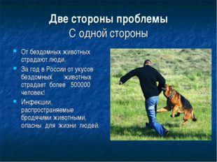 Две стороны проблемы С одной стороны От бездомных животных страдают люди. За