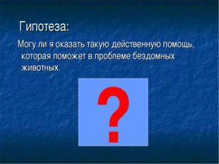 Гипотеза: Могу ли я оказать такую действенную помощь, которая поможет в проб