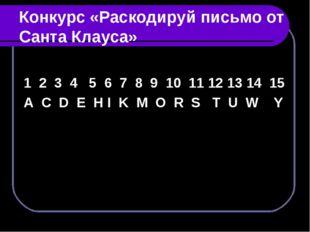 Конкурс «Раскодируй письмо от Санта Клауса» 1 2 3 4 5 6 7 8 9 10 11 12 13 14