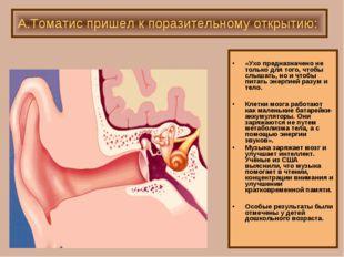 «Ухо предназначено не только для того, чтобы слышать, но и чтобы питать энер