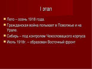 I этап Лето – осень 1918 года. Гражданская война полыхает в Поволжье и на Ура