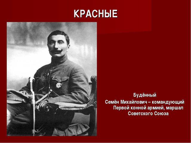 КРАСНЫЕ Будённый Семён Михайлович – командующий Первой конной армией, маршал...