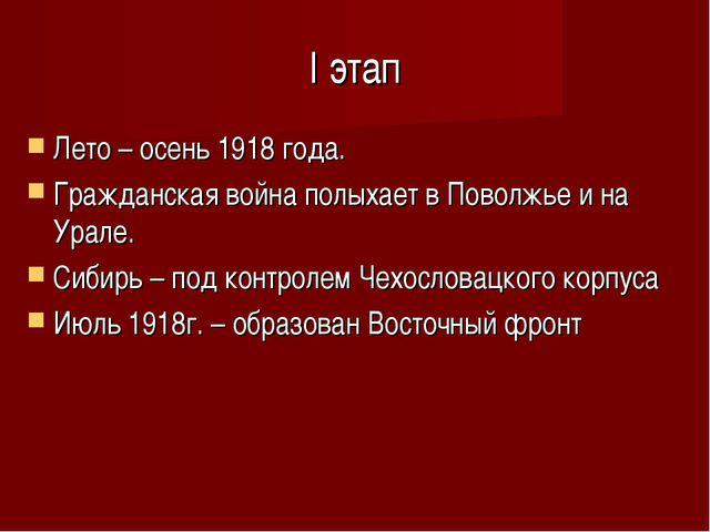 I этап Лето – осень 1918 года. Гражданская война полыхает в Поволжье и на Ура...