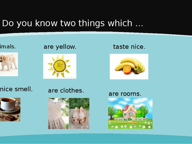 Do you know two things which … are animals. have a nice smell. are rooms. tas...