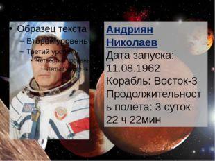 Андриян Николаев Дата запуска: 11.08.1962 Корабль: Восток-3 Продолжительност