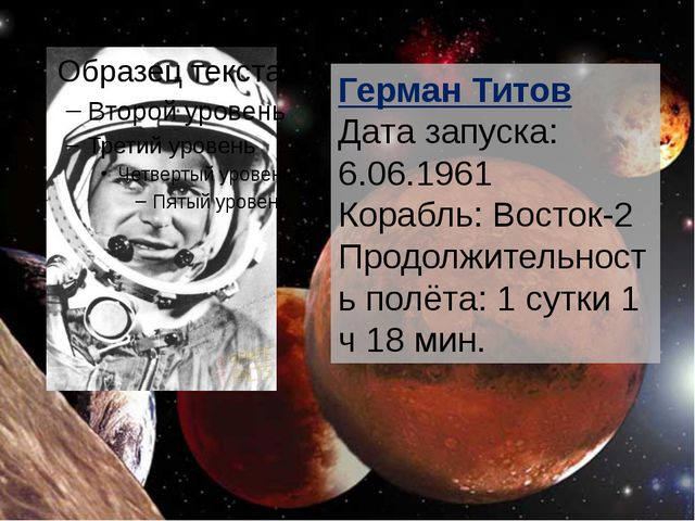 Герман Титов Дата запуска: 6.06.1961 Корабль: Восток-2 Продолжительность пол...