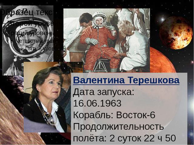 Валентина Терешкова Дата запуска: 16.06.1963 Корабль: Восток-6 Продолжительн...